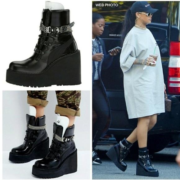 Fenty Puma Rihanna Black Wedge Sneaker Boots sz 8.  M 5b628db5c2e9fe6e1db62711 9c2ccac11